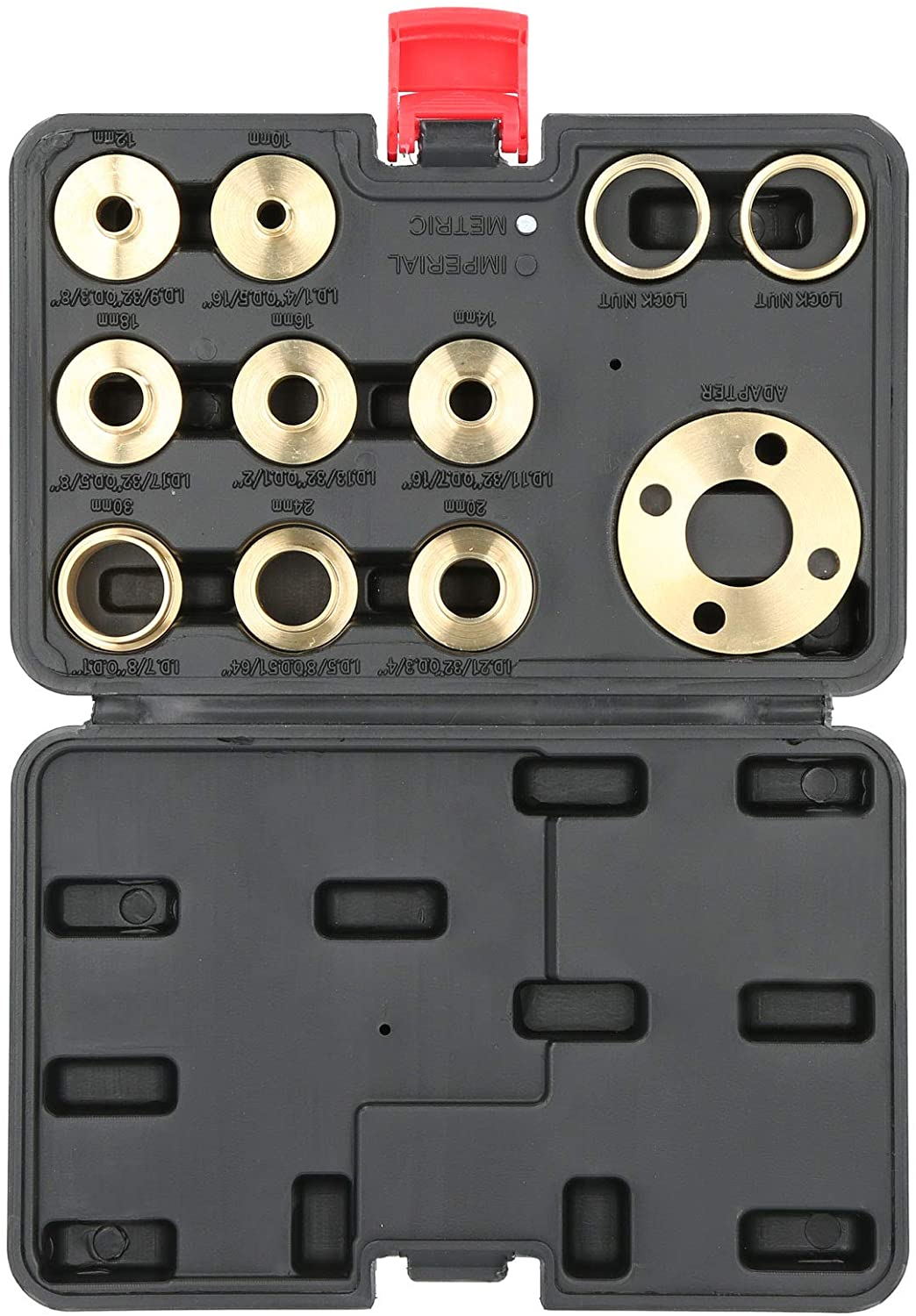 Router Accessory Brass Template Router Guides Kit with Lock Nut Adapter with Storage Case 11Pcs//Set Router Template Guide Set