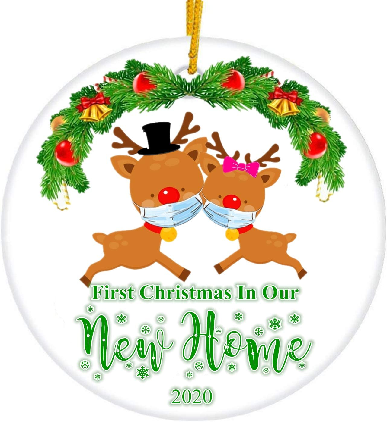 JUPPE First Christmas in Our New Home 2020 Cute Deer Style Ornament Mr & Mrs Newlywed Decoration Romantic Couples Gift (Cute Deer-1)
