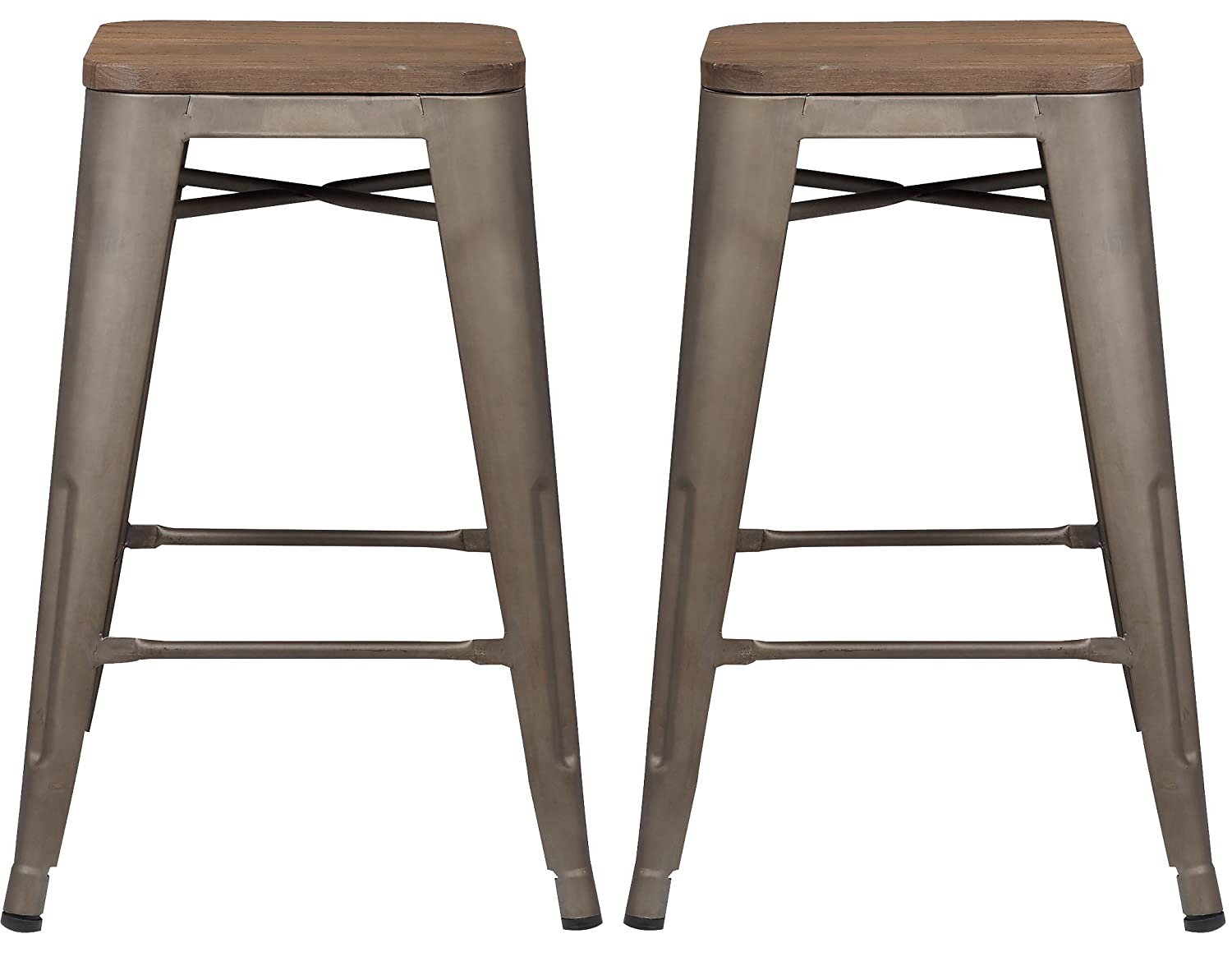 Poly and Bark Trattoria 24 Counter Height Stool with Elmwood Seat in Bronze Set of 2