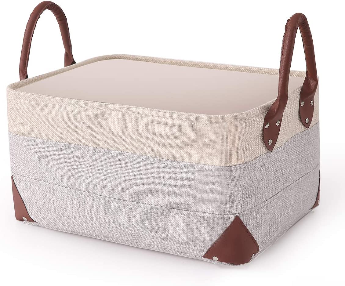 Collapsible Fabric Storage Bin - Natural Linen Fabric Storage Basket with PU Leather Handles for Home Office Organizing Linen Closet Organizer -16 x 12 x 8.3 inches