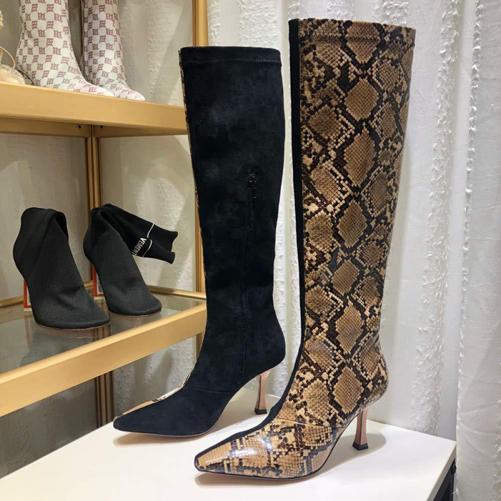 PLNXDM Schlangenmuster Hohe Sexy Stiefel Sexy Hohe Spitze High Heels Club Party Schuhe Passende Wildlederstiefel Elastische Stiefel 217808