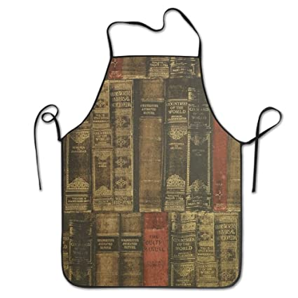 Unisex Kitchen Aprons Old Books Bookshelf Chef Apron Cooking Barbecue