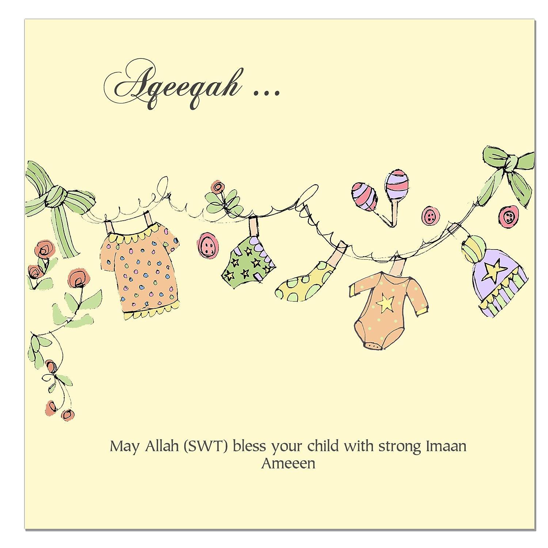 Aqeeqah Aqeeqa Aqiqah Islamic Baby Card
