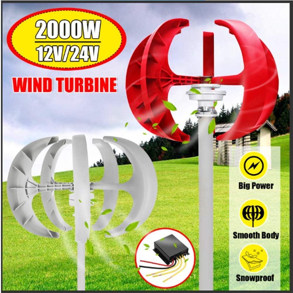 SISHUINIANHUA 2000W aerogeneradores Controlador 12V24V Generador + 5 Hojas Linterna Vertical axises por residenciales de los hogares de la farola,Rojo,24v