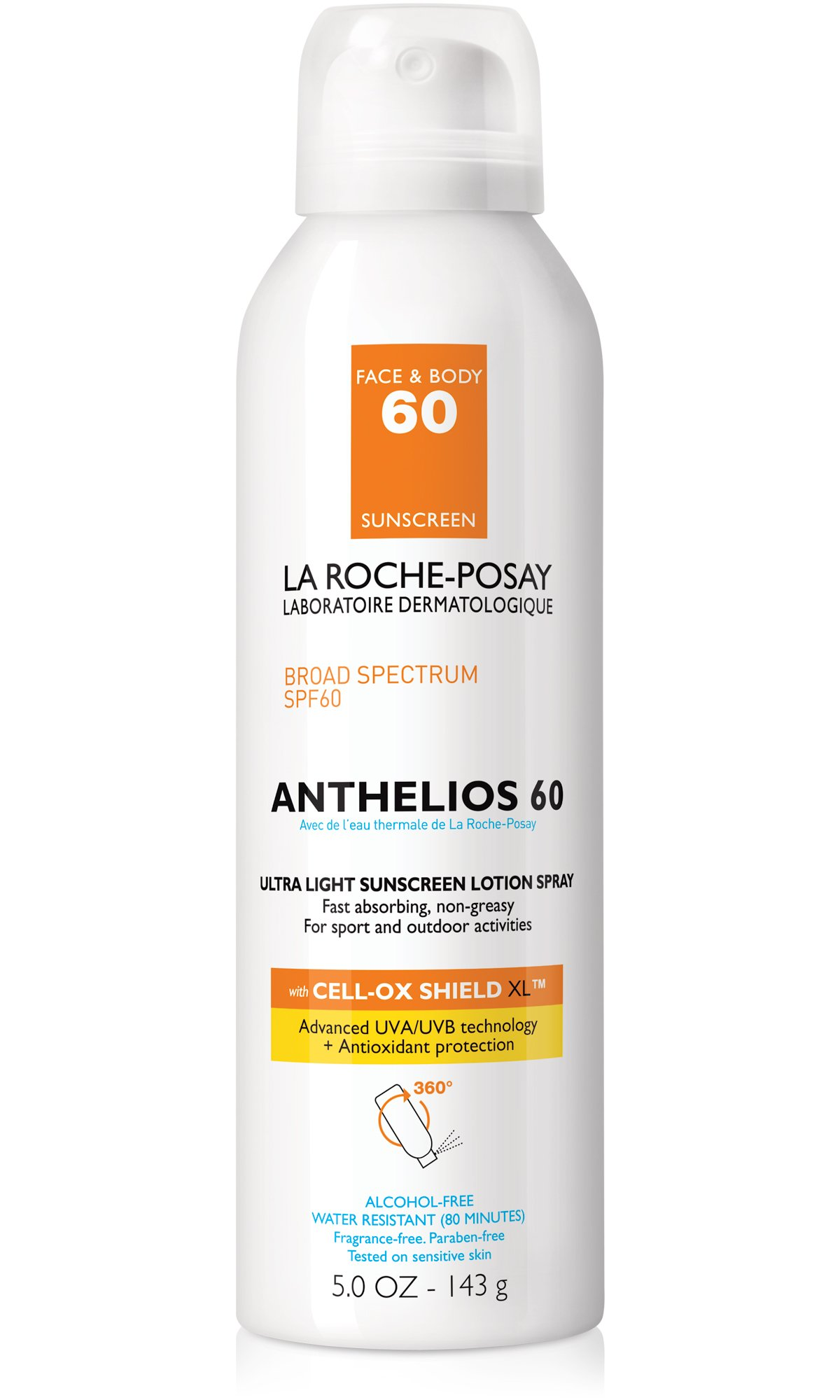 La Roche-Posay Anthelios Ultra-Light Sunscreen Spray Lotion SPF 60, 5 Fl. Oz.