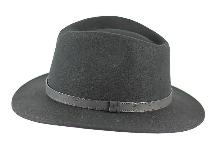 d75156d9f394d9 Unisex Mens Women Vintage 100% Felt Wool Wide Brim Crushable Fedora Hat 4  Sizes[