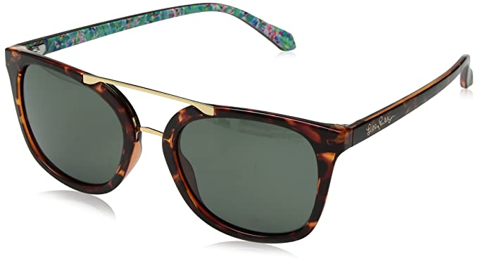 9743df7716f Image Unavailable. Image not available for. Color  Lilly Pulitzer Women s  Emilia Polarized Aviator Sunglasses ...