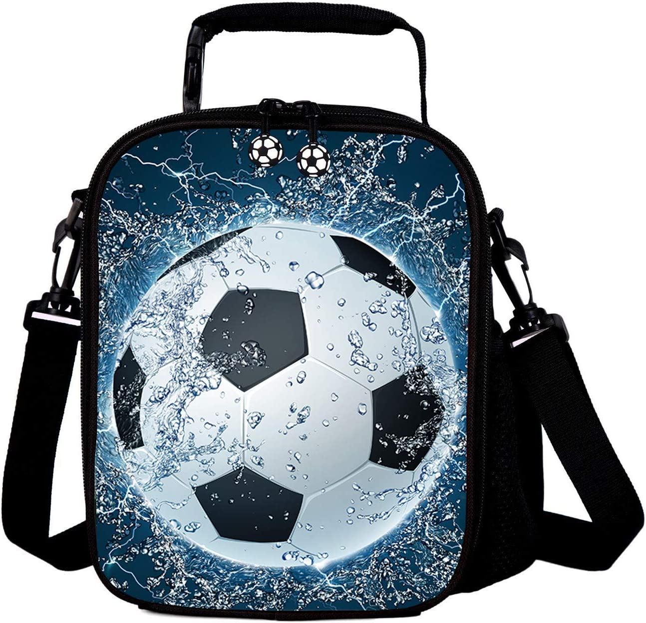 7-Mi Kids Lunch Box Bag, Portable Reusable Insulated Lunch Totes for Kids Boys 3D Football Lunch Box Girls Washable Crossbody Lunch Container Food Carrier For 2 To 7Years,Football Printed