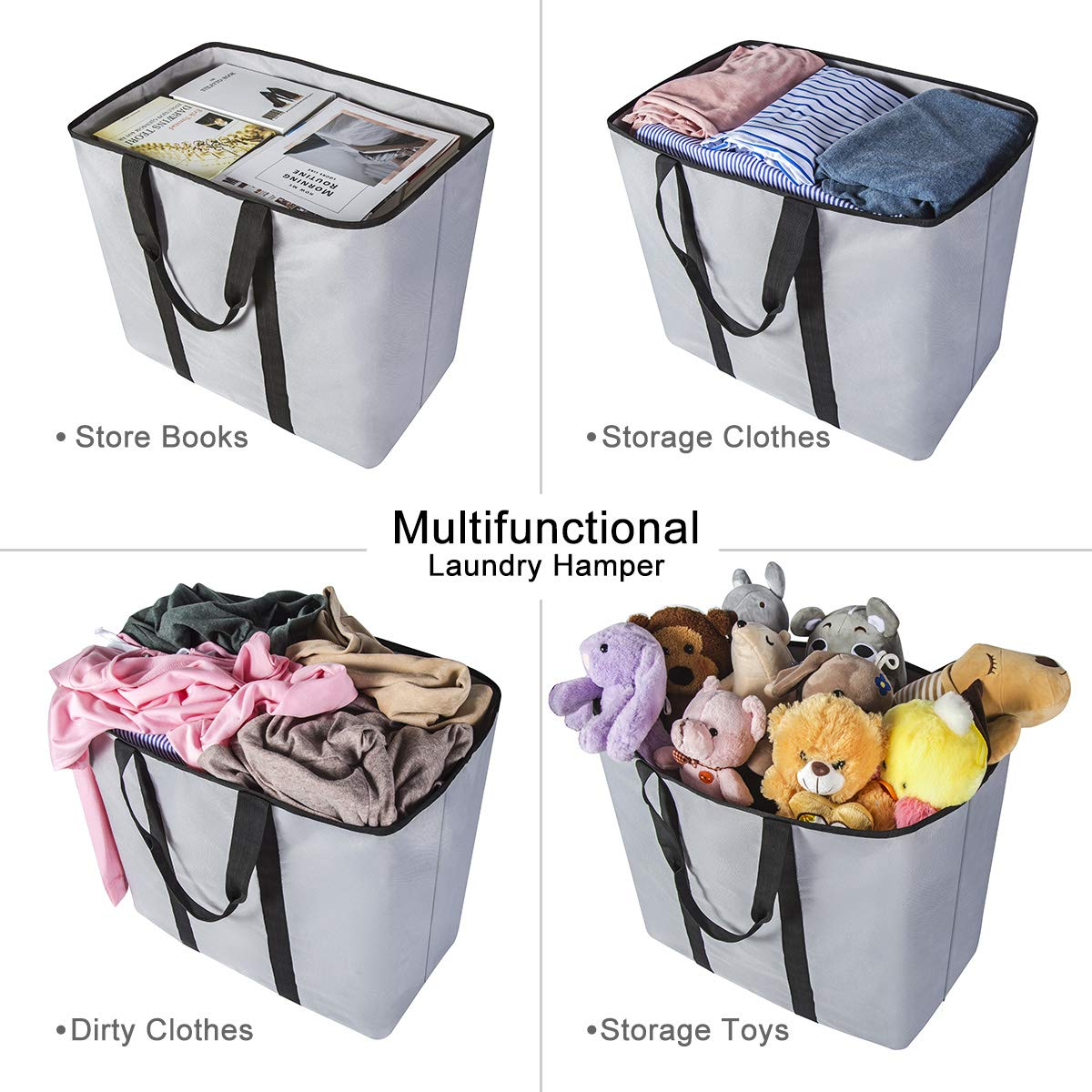 WISHPOOL Extra Large Laundry Basket Shopping Tote Bag Collapsible Laundry Hamper Handles Foldable Laundry Bags Standing Dirty Clothes Storage Organizer (Light Grey)