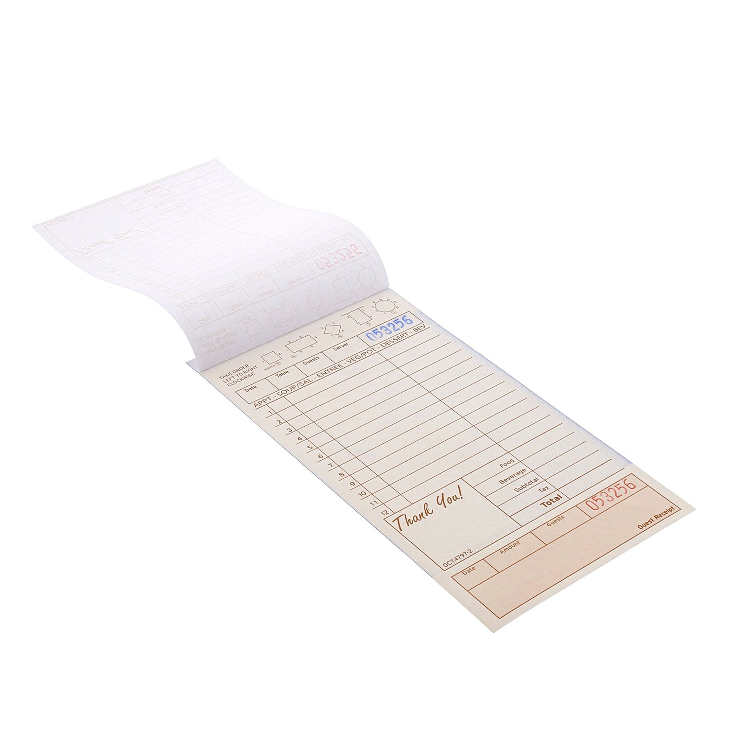 Royal Tan Guest Check Board, Carbonless 2 Part Loose, Package of 250