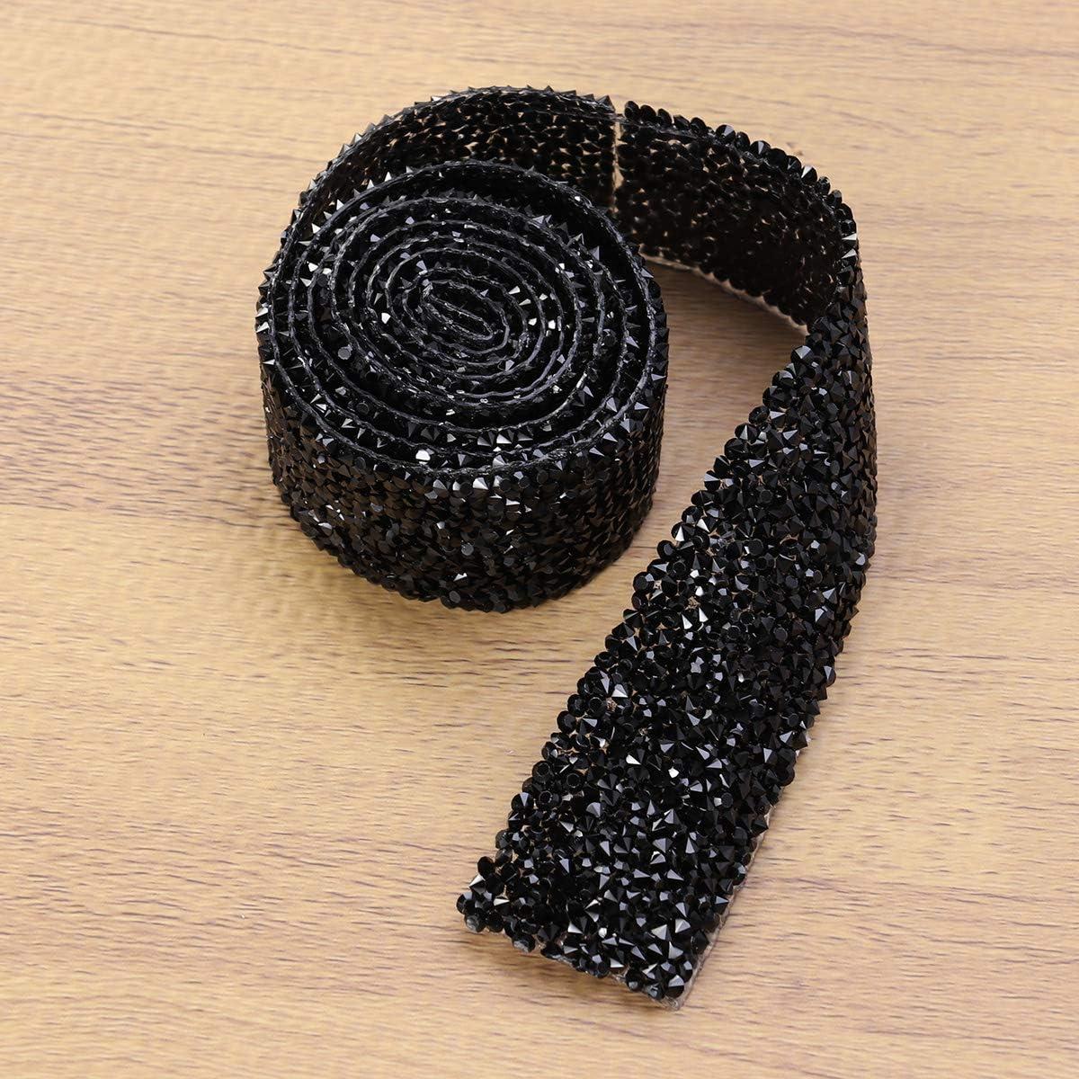 Black FENICAL Bridal sash Bridal Rhinestone Wedding Dress sash Belt Diamond Bridal Belt 3cm