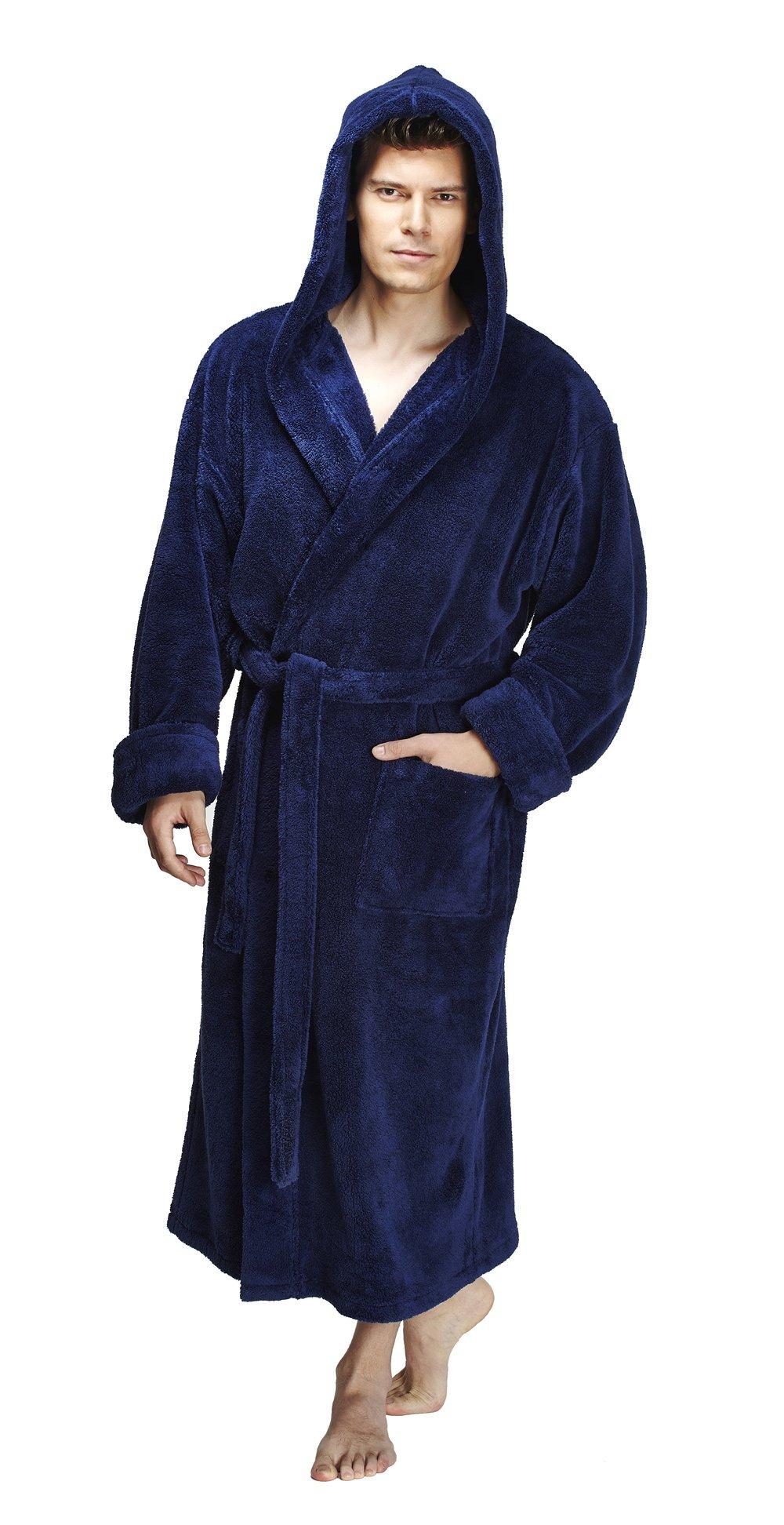 Arus Men's Hooded Fleece Bathrobe Turkish Soft Plush Robe, Navy Blue, SM