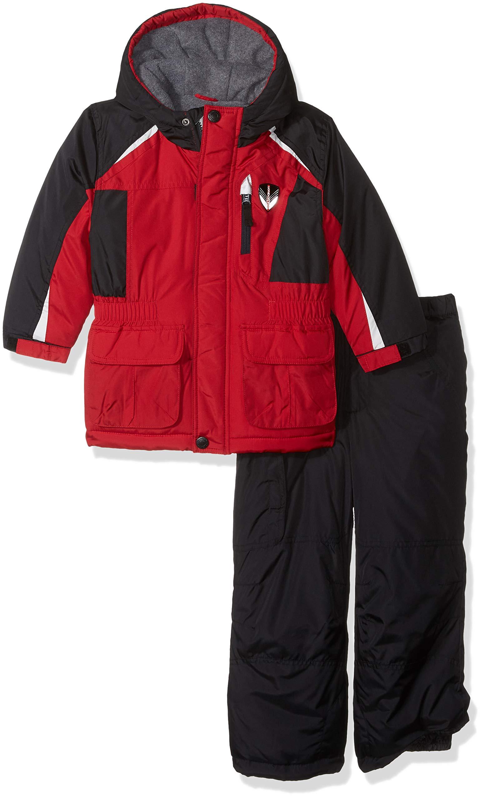 London Fog Boys' Little Ski Jacket & Ski Pant 2-Piece Snowsuit, Real red, 4 by London Fog