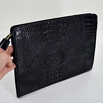 5ae0c1ca8b Amazon.com: Felice Fashionista Crocodile Pattern Oversize Leather Envelope  Clutch Ladies Portfolio Evening Handbag (black): Clothing