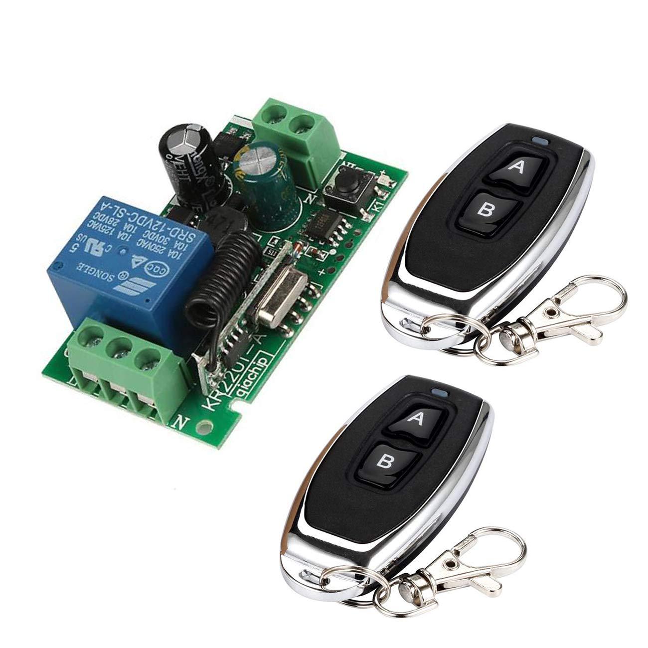 YLX Universal 433MHz AC 220V 1 Mó dulo de Receptor de Interruptor de Control Remoto Inalá mbrico + 2 RF 433MHz Transmisor Mando a Distancia
