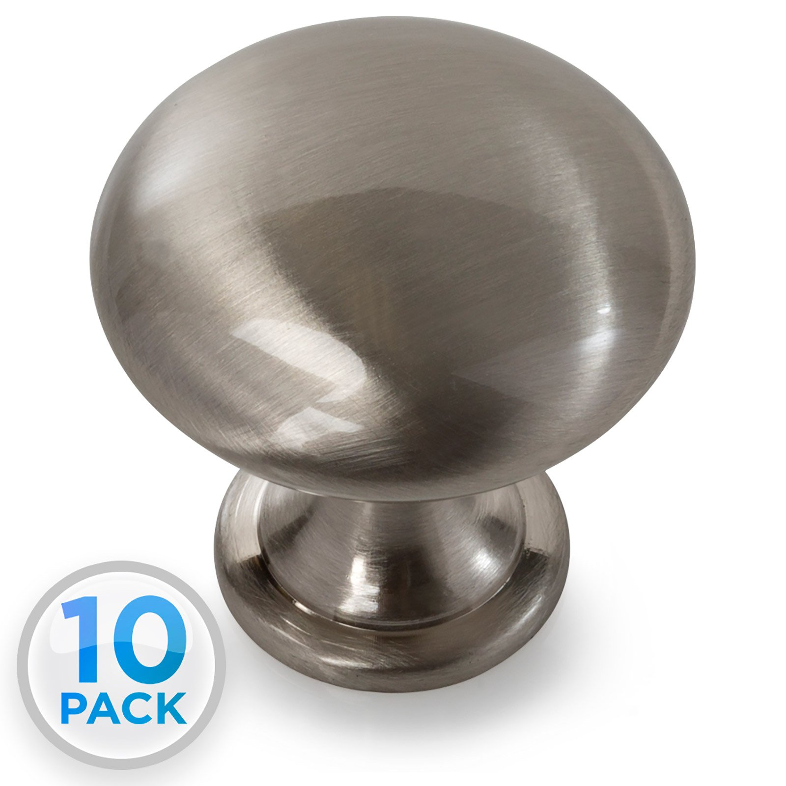 Cauldham Brushed Satin Nickel Cabinet Hardware Round Pull Knob Handle - 1-1/8'' Diameter - 10 Pack