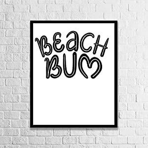 DKISEE Wall Art Beach Bum Wood Framed Sign Home Decor Wood Sign Wall Decor Poster Print