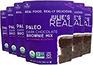Julie's Real Organic Paleo Baking Mix | Dark Chocolate Brownie Mix | 6-Pack | Vegan, Keto, Diabetic Friendly | No Cane Sugar, Made with Almond Flour | 52.8 oz