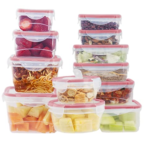 24 Pc Reusable Kitchen Containers w/ 4 Bonus Vented Lids - Plastic Food  Containers - School Office Work Microwavable Containers (Red Lids)