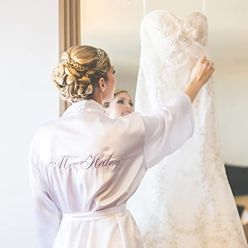 6264d47ae2 Amazon.com  Personalized Bridal Robe with Mrs. Name on the Back  Handmade