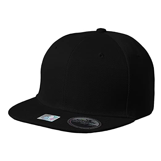 Amazon com: Blank Adjustable Flat Bill Plain Youth Snapback Hats