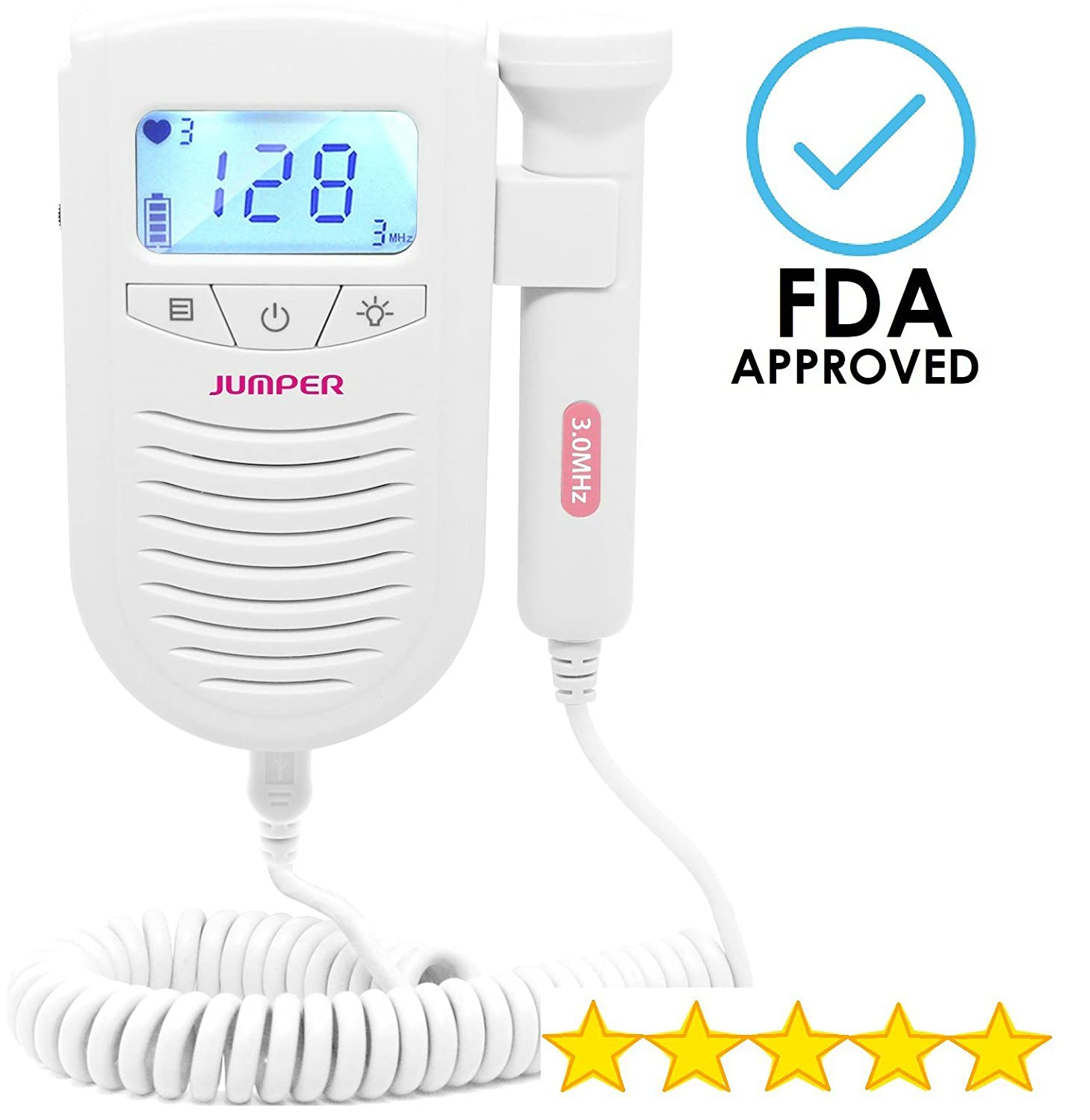 AngelSounds Fetal Doppler Baby HeartBeat Monitor - Listen to Sounds of Your Baby - Best New Mom Gift and Baby Shower Gift SnuggleBug