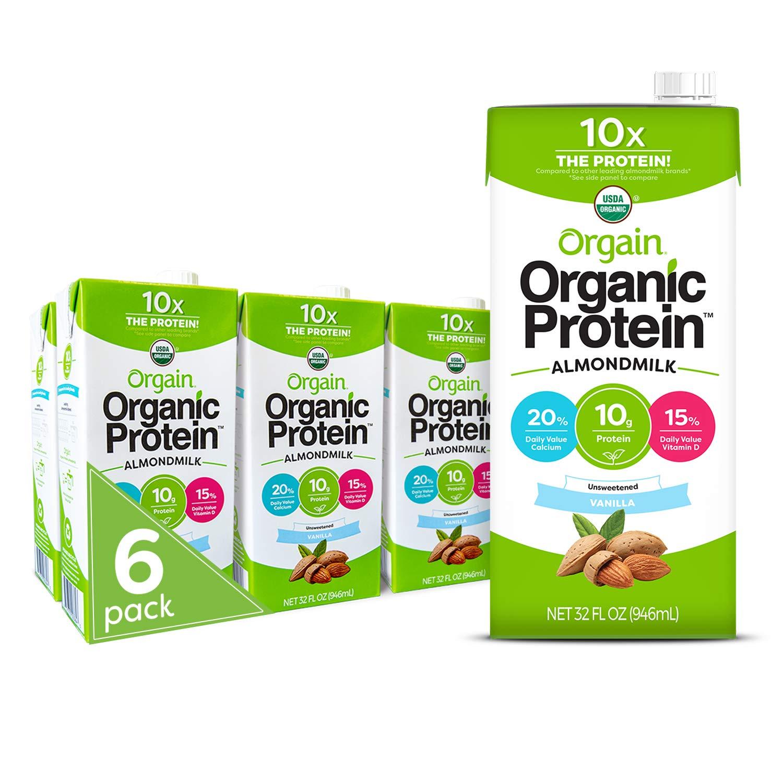 orgain unsweetened vanilla protein almond milk