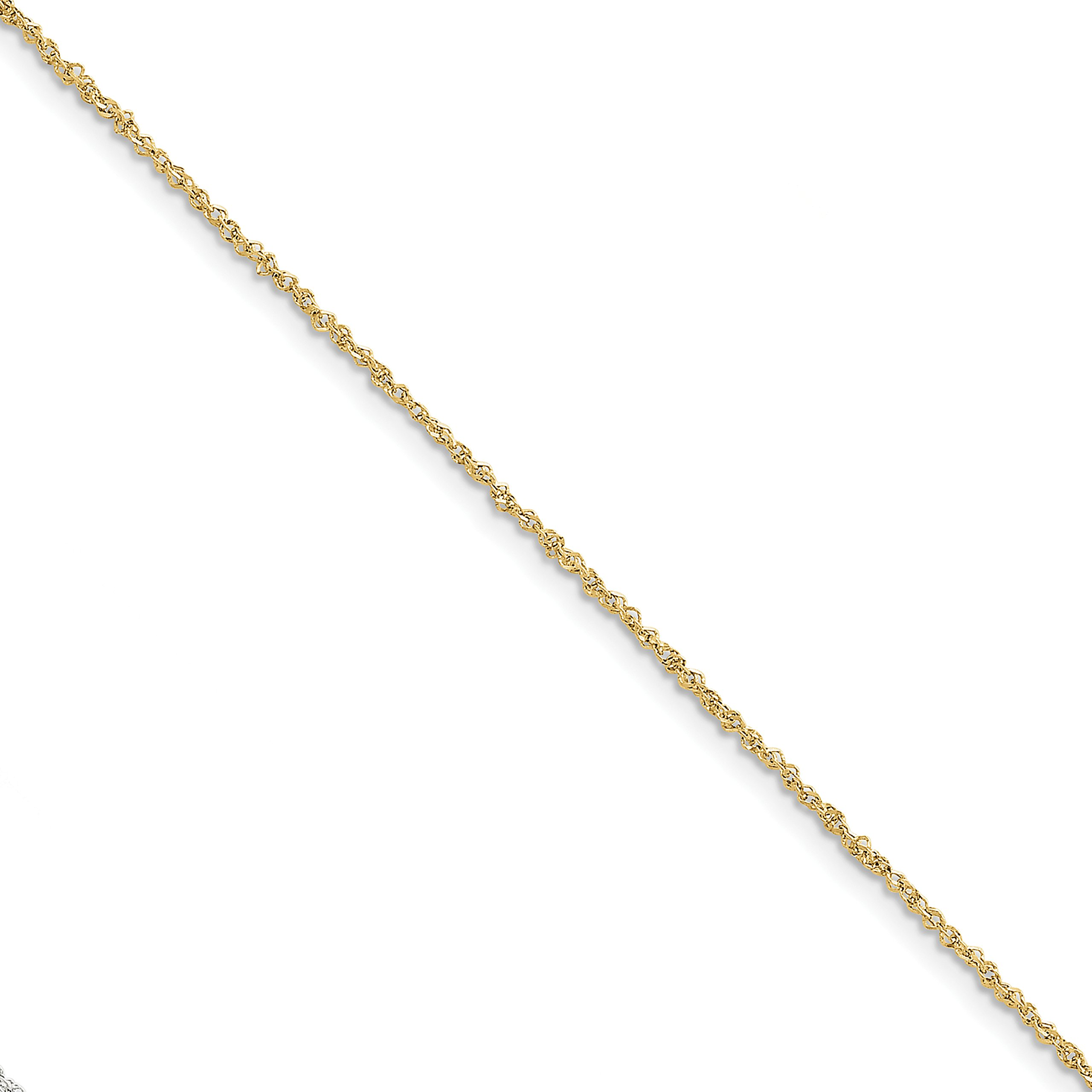 ICE CARATS 10k Yellow Gold 1.7mm Ropa Chain Anklet Ankle Beach Bracelet 10 Inch Rope Fine Jewelry Gift Set For Women Heart