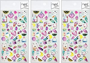 PARITA Stickers Gel Clings Dessert ice Cream Food Cartoon Sticker Craft Design Scrapbooking Card Diary Books Album Glass Bottles Suitcase Decal Glue Sticky (Pack 3 PCS.) (11)