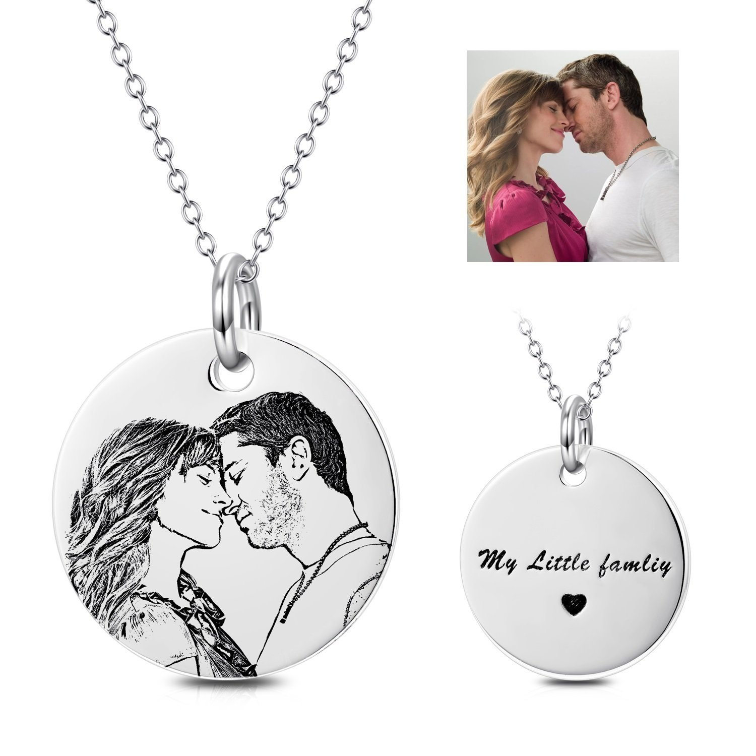 LONAGO Personalized Photo Necklace Custom Engraved Necklace Pendant Back and White Color Sterling Silver Gifts (Sterling Sliver, 16)