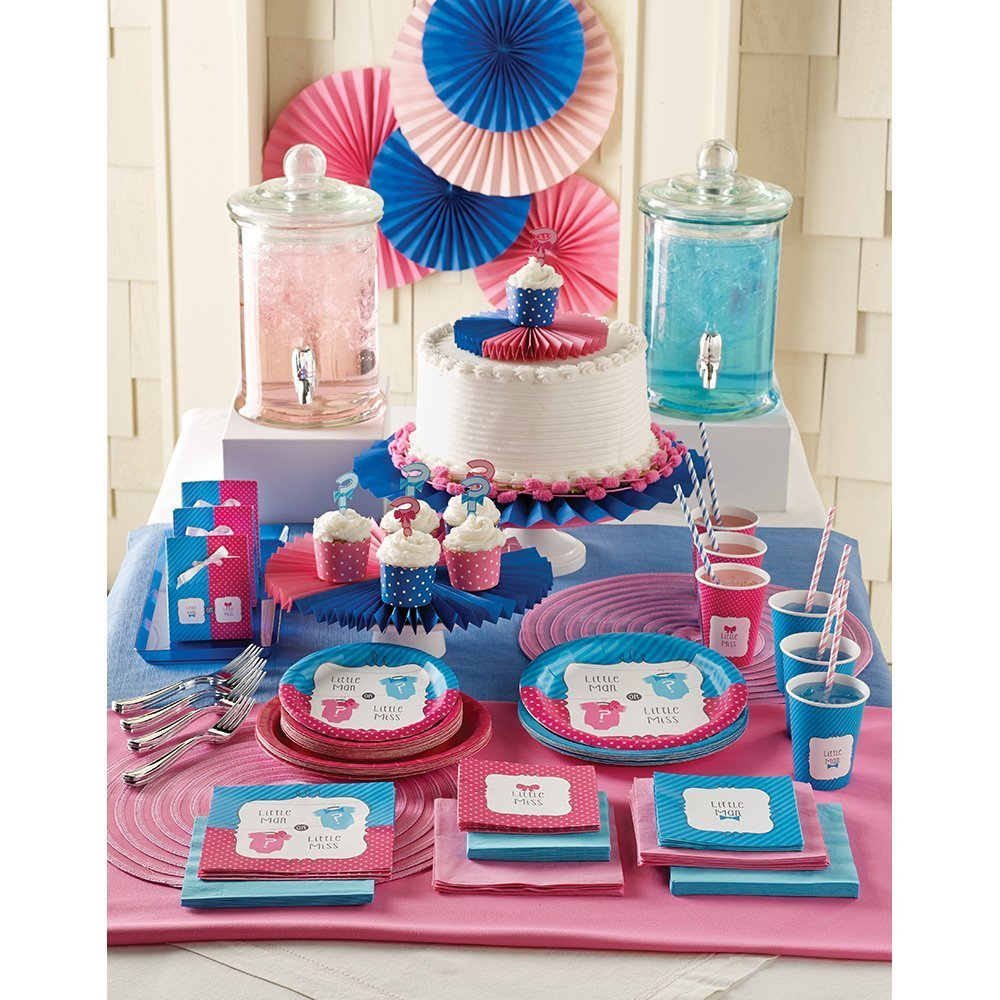 8.75 Value Pack: 24 Count Round Paper Plates Creative Converting Gender Reveal Party Bow Or Bowtie