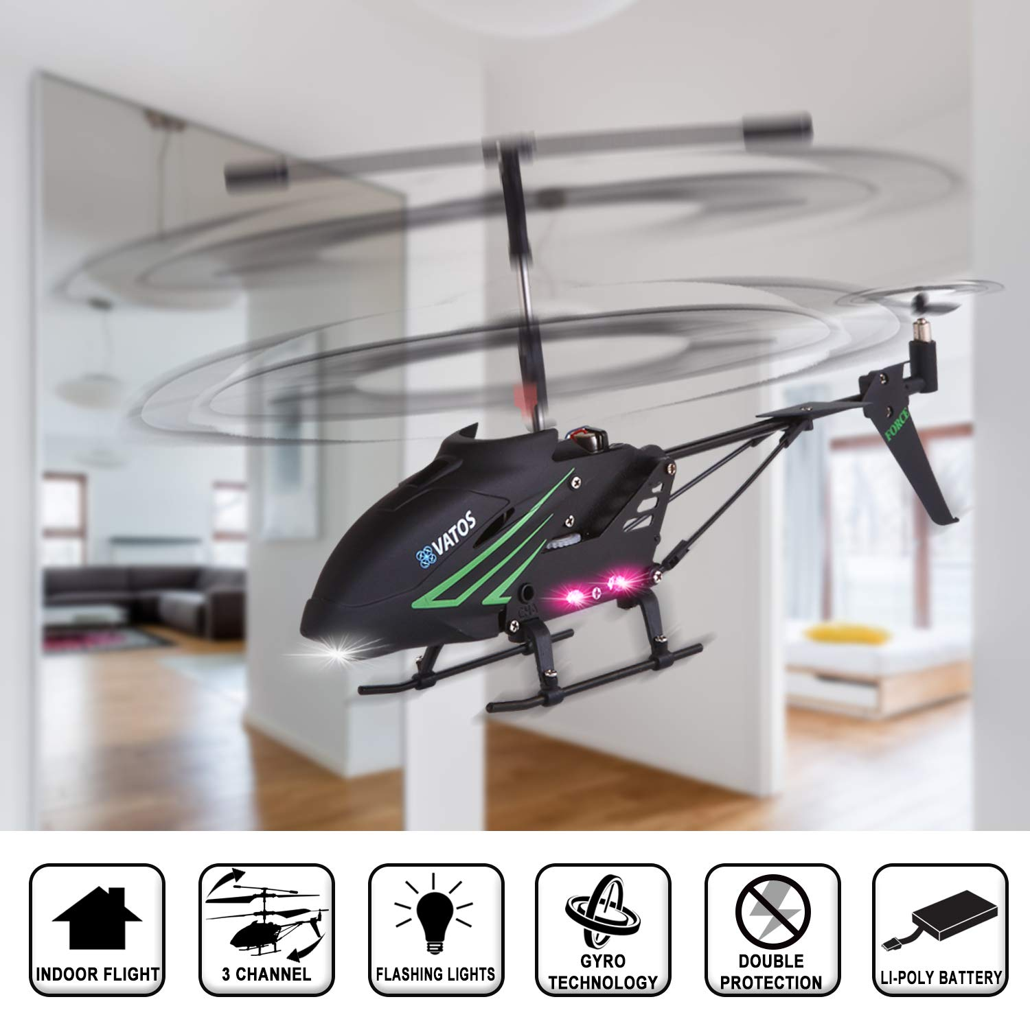RC Helicopter, Remote Control Helicopter with Gyro and LED Light 3.5HZ Channel Alloy Mini Helicopter Remote Control for Kids & Adult Indoor Outdoor Micro RC Helicopter Best Helicopter Toy Gift by VATOS (Image #4)
