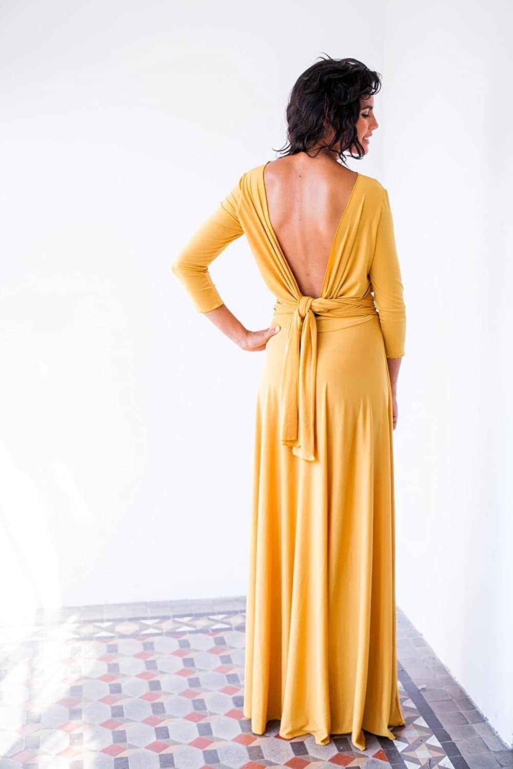 Amazon.com: Long yellow dress with sleeves, yellow evening dress with sleeves, mustard yellow dress, mustard long sleeve dress, long yellow wrap dress: ...