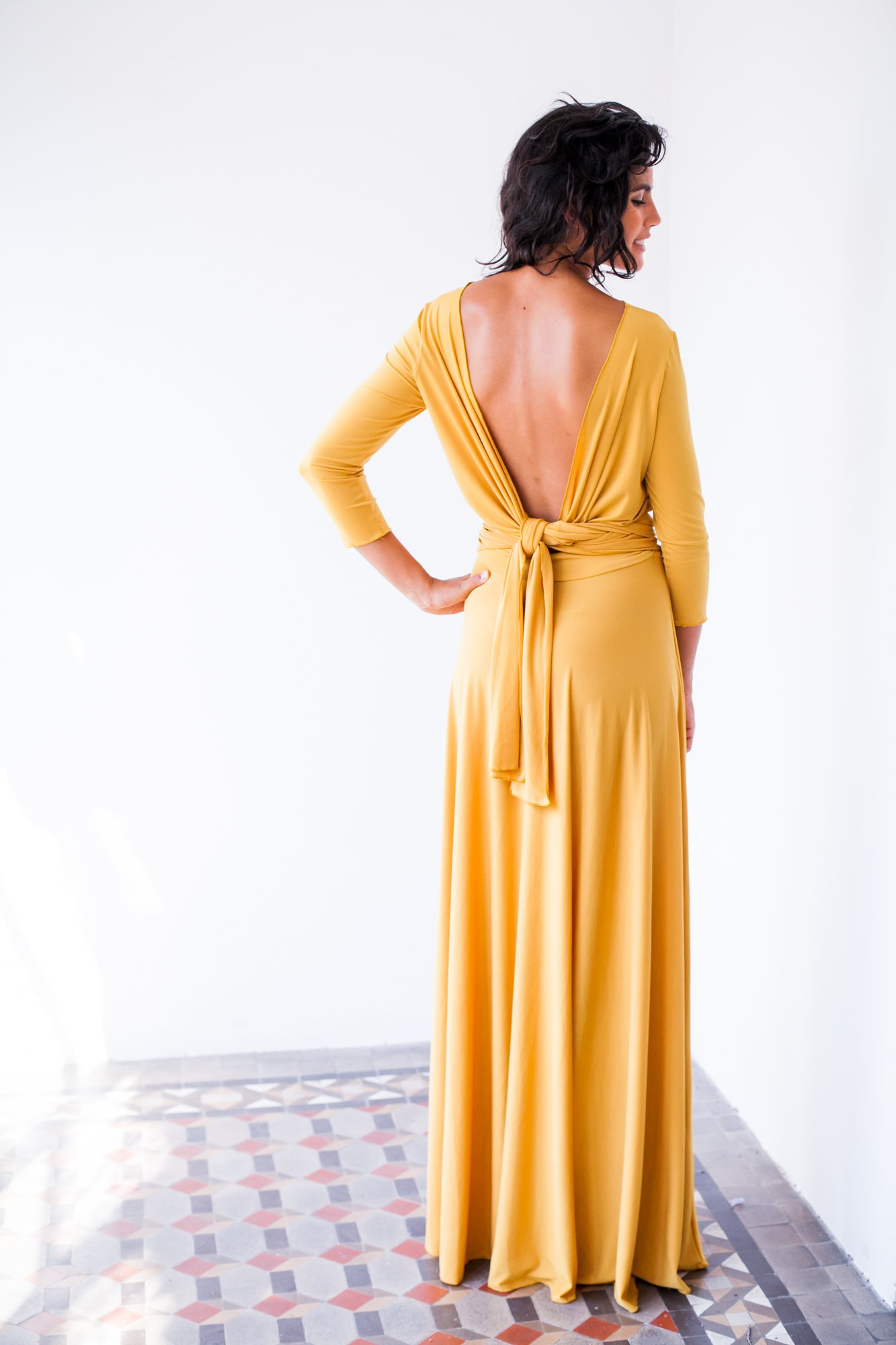 Long yellow dress with sleeves, yellow evening dress with sleeves, mustard yellow dress, mustard long sleeve dress, long yellow wrap dress