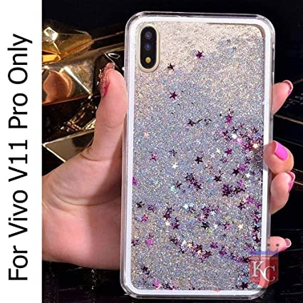 quality design fa214 8ce8d KC Liquid Floating Glitter Sparkle Stars Transparent Silicon Case, Soft  Sides Back Cover for Vivo V11 Pro - Silver