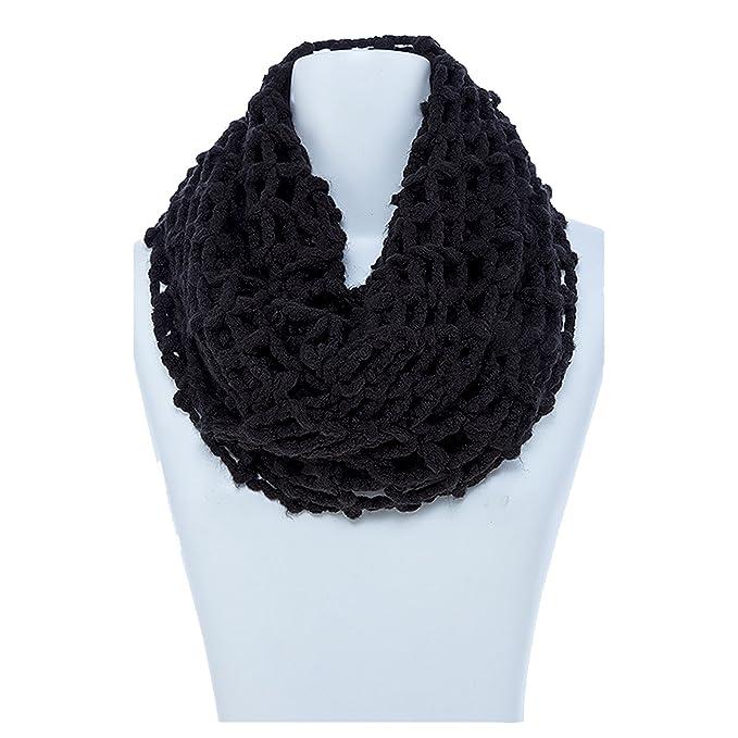 Womens Loose Knit Waffle Infinity Scarf Black At Amazon Womens