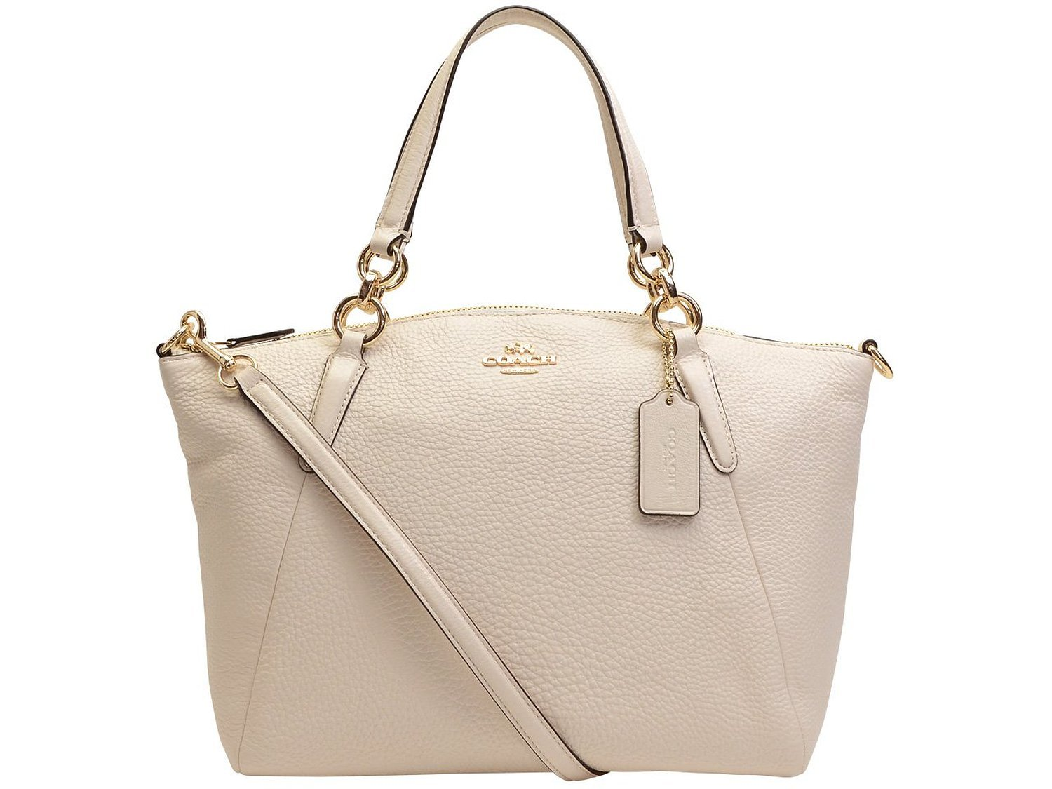 Coach Small Kelsey Pebbled Leather Satchel Crossbody IMCHK/Offwhite