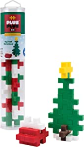 PLUS PLUS Big - Instructed Tube - 15 Piece Holiday Mix - Construction Building STEM | STEAM Toy, Interlocking Large Puzzle Blocks for Toddlers and Preschool