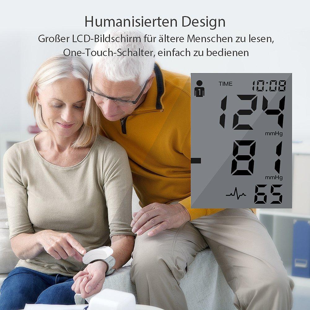 Tensiómetro de muñeca Hylogy totalmente automático Presión Arterial y Detección de Pulso Arrítmico, Memoria (2 * 120) Certifica FDA CE (Blanco): Amazon.es: ...