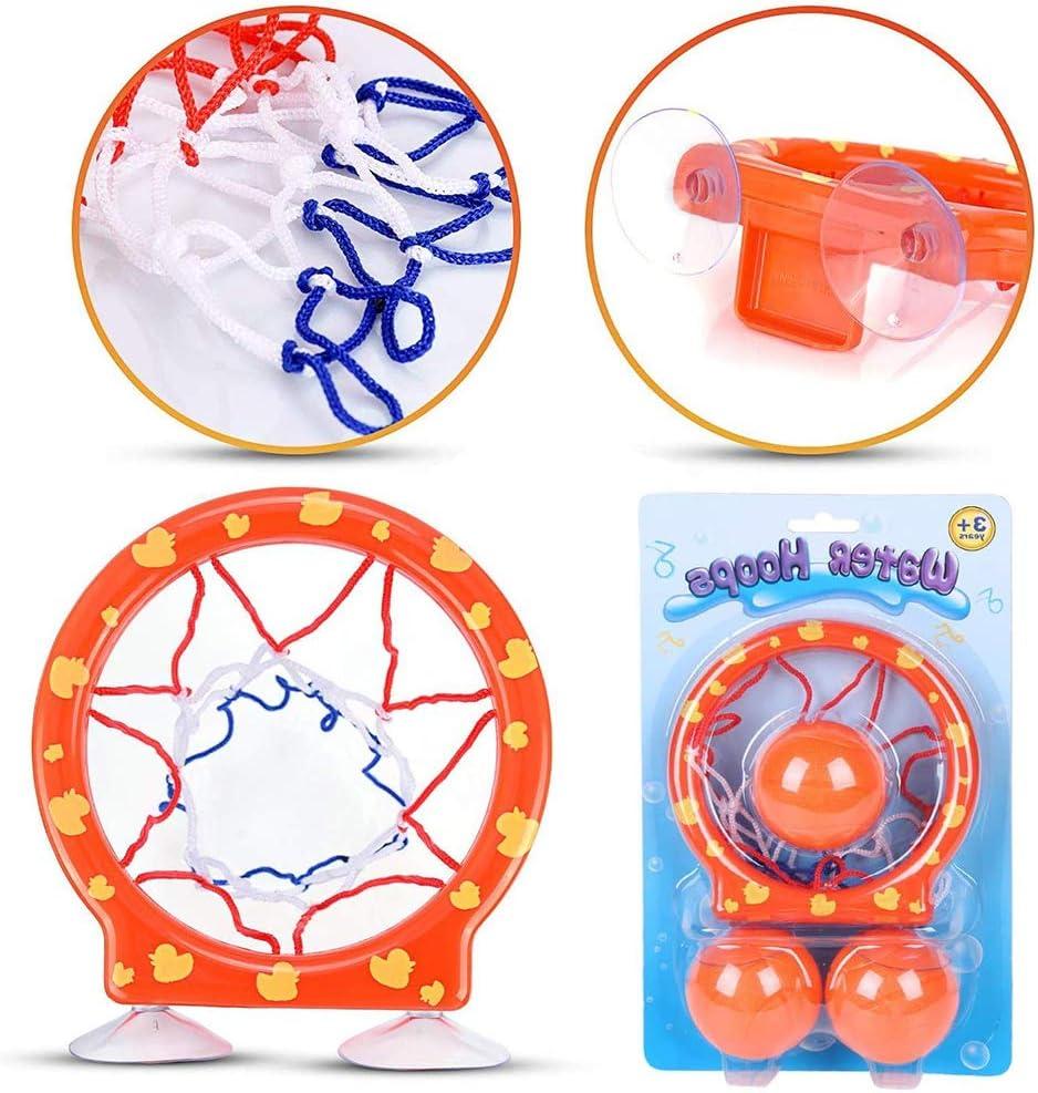 WENTS Giocattolo da Bagno Basket Bath Toys Basketball Hoop Bathtub Water Play Set Vasca da Bagno Gioco di tiro Giocattoli con 3 Palle e Ventose per Neonati e Bambini