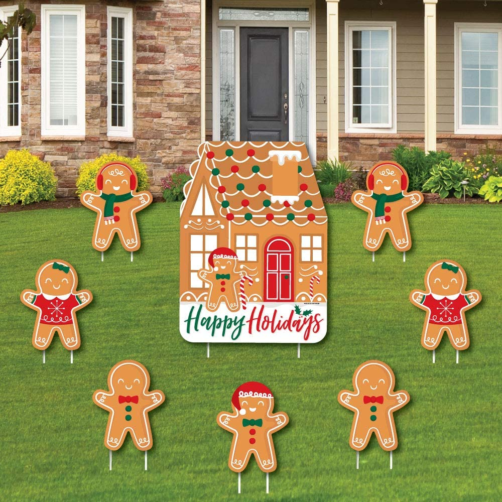 Big Dot of Happiness Gingerbread Christmas - Yard Sign and Outdoor Lawn Decorations - Gingerbread Man Holiday Party Yard Signs - Set of 8