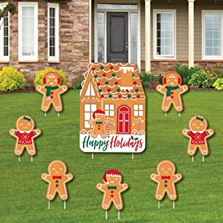 product image for Big Dot of Happiness Gingerbread Christmas - Yard Sign and Outdoor Lawn Decorations - Gingerbread Man Holiday Party Yard Signs - Set of 8