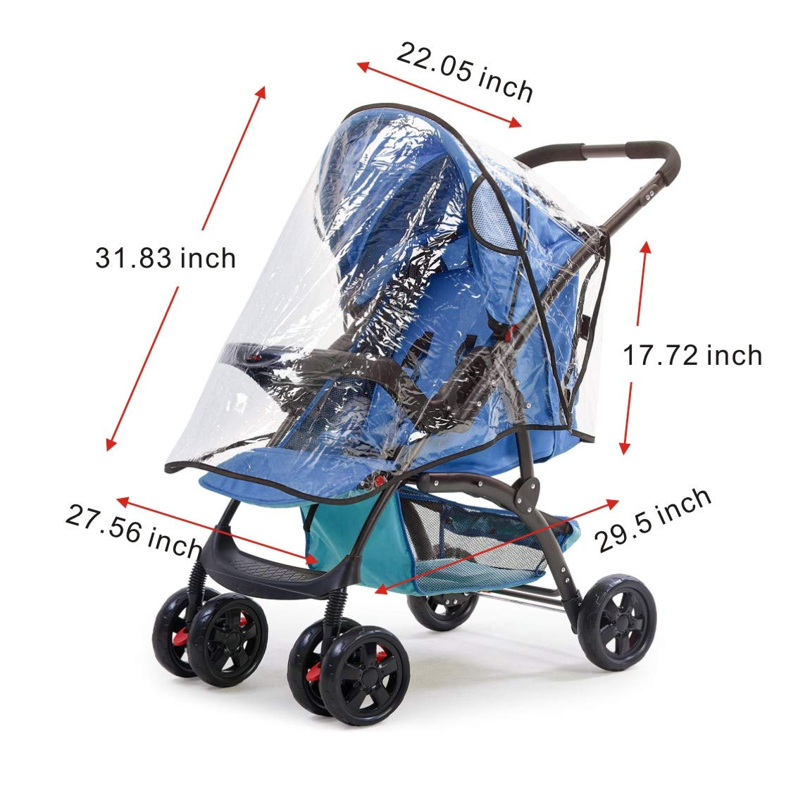 Universal Baby Stroller Rain Cover + Mosquito Net,Idefair Weather Shield Accessories,Protect from Rain Wind Snow Dust Insects Water Proof Ventilate Clear-Breathable Bug Shield for Baby Stroller by Idefair (Image #5)
