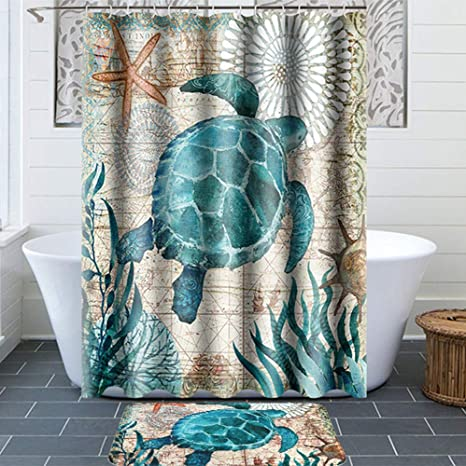 Amazon Com Turtle Bathroom Sets With Shower Curtain And Rugs And Accessories Home Kitchen