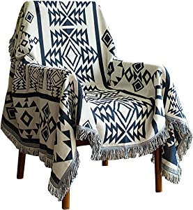 Throw Blanket for Couch Tassels Cozy Reversible Bohemia Throw Blankets for Bed Couch Sofa Bed Boho Couch Protector Case Multi-Function for Home Office Outdoor Camping Decor