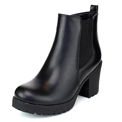 69528dcfb897 Women's Block Chunky Heel Ankle Booties Slip on Platform Boots Zipper up  High Heel Chelsea Boots