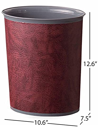 Bennett U0026quot;Plasbinu0026quot; Trash Can, Small Office Plastic Wastebasket,  Leatherette Finish Modern