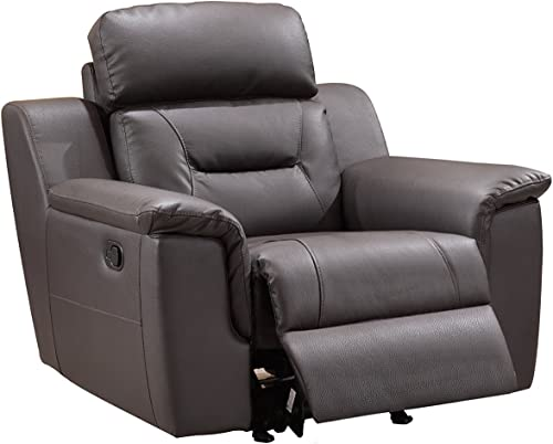 Blackjack Furniture 9408 Walker Collection Leather Match Upholstered Reclining Living Room, Accent Chair, Brown