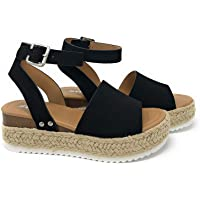 SODA Womens Casual Clip Espadrilles Trim Flatform Studded Wedge Buckle Ankle Strap Sandals