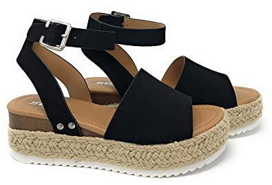 30c3577bbf SODA Topic Black Casual Espadrilles Trim Rubber Sole Flatform Studded Wedge  Buckle Ankle Strap Open Toe